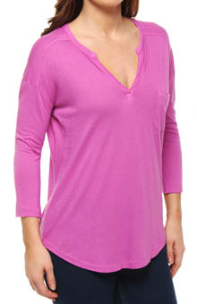 Splendid Very Light Jersey Split Neck 3/4 Sleeve Tee ST7717