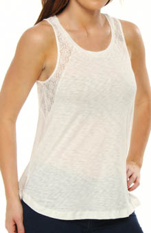 Splendid Lace and Slub Sleeveless Tee with Back Detail ST7730