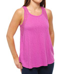 Lace and Slub Sleeveless Tee with Back Detail Image