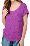 Splendid Heathered Shirting Scoop Neck Cap Sleeve Tee ST77453