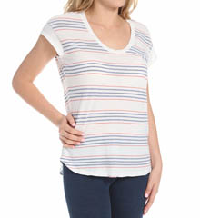 Splendid Pipeline Stripe Drop Shoulder Scoop Neck Tee ST8324
