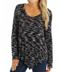 Splendid Carlow Loose Knit Asymmetrical V-Neck Tee ST8703