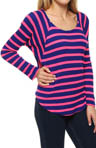 Splendid Neon Pop Thermal Raglan Sleeve Open Neck Tee STAD573