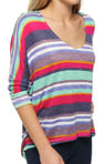 Splendid Pensacola Stripe V-Neck Oversize Tee STLQ742