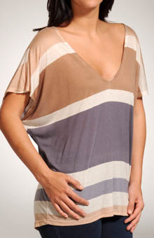 Splendid Block Stripe Boxy V Neck Cap Sleeve Top STP6679