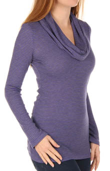 Mini Stripe Thermal Cowl Neck Top