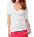 1X1 Ribbed V-Neck Elbow Sleeve Tee Image