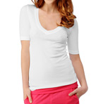 1X1 Ribbed V-Neck Elbow Sleeve Tee