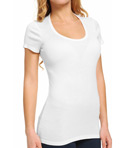 Jersey 1x1 Ribbed Short Sleeve Scoop Neck Tee
