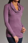 1X1 Long Sleeve Cowl Neck Top