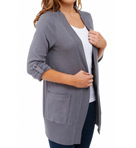 1X1 Fold Collar Long Cardigan