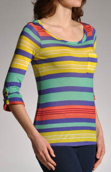 Beach Towel Stripe 3/4 Sleeve Top