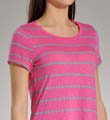 Splendid Chambray Mixed Stripe Short Sleeve Boat Neck Top TIC6620