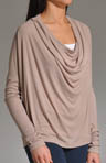 2X1 Ribbed Drape Neck Drop Shoulder Top