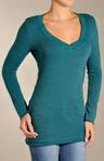 Vintage Fleece V Neck Tunic with Zipper Back