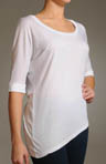 Asymmetrical Jersey Top with Elbow Sleeves