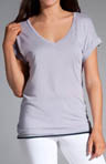 V-neck Top with Tiered Multicolor Hem