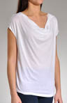 Very Light Jersey  Drape Neck Cap Sleeve Top