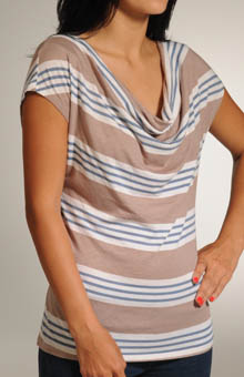 Palm Stripe Drape Neck Cap Sleeve Top