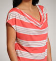 Palm Stripe Drape Neck Cap Sleeve Top Image