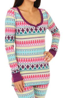 Steve Madden Cozy Up Thermals Printed Thermal Top