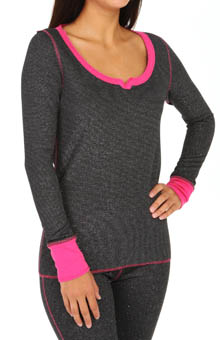 Steve Madden Cozy Up Thermals Sparkle Thermal Lurex Top