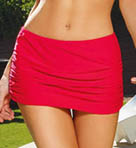 Sunsets Crimson  Shirred Swim Skirt 35B