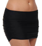 Black Shirred Swim Skirt