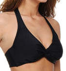 Black Underwire Twist Halter Swim Top