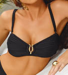 Black Shirred Bandeau Swim Top Image