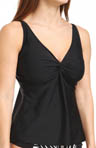 Black Underwire Twist Tankini Swim Top Image