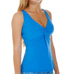 Tile Blue Underwire Twist Tankini Swim Top Image