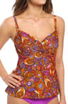 Swim Systems Bali Batik Shirred Underwire Tankini Swim Top BALI792
