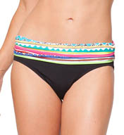 Anne Cole Ethnic Stripe Foldover Mid-Rise Swim Bottom 15MB351
