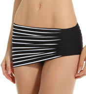 Anne Cole ./Simple Stripe Asymmetric Skirted Swim Bottom 15MB407