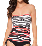 Anne Cole Zebra Dot Bandeau Tankini Swim Top 15MT253