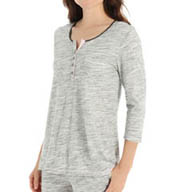 Anne Klein Novelty 3/4 Sleeve Henley Cotton Poly Jersey Top 8210411