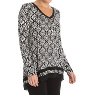 Anne Klein Holiday Luxe Long Sleeve Top with Soft Bra 8410465