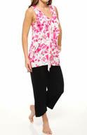 Anne Klein Cascades in Bloom Cropped PJ with Soft Bra 8710312