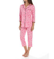 Anne Klein Rose 3/4 Sleeve Cropped PJ Set 8710421