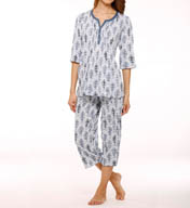 Anne Klein Spring Forward Cropped Crinkle PJ Set 8710433