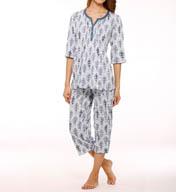 Anne Klein Spring Forward Cropped Crinkle PJ Set 8710433