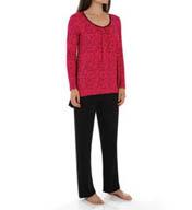 Anne Klein Snow Leopard Long Sleeve PJ With Soft Bra 8810417