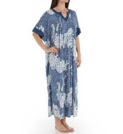 Anne Klein Chambray Long Caftan Poly Spandex Jersey Gown 8910405