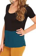 Bella Luxx Tissue Jersey Silk Georgette Contrast Hem Tee BL1123