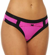 Betsey Johnson Intimates Zipper Stripe Low Rise Wide Side Thong 722100