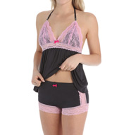 Betsey Johnson Intimates Rayon Knit Camisole Doll Short Set 731967
