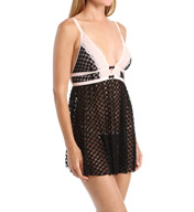Betsey Johnson Intimates Bows & Lace Dot Lace Babydoll and Thong Set 7321015