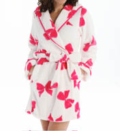 Betsey Johnson Intimates Luxe Fleece Bow Hooded Robe 734858