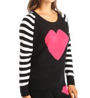 Betsey Johnson Intimates I Heart U Cozy Sweater Raglan Top 7361050